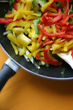 Peppers are ready. Pan with peppers ready for cooking Stock Images