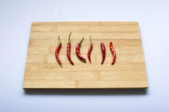 Peppers. Red peppers on wood royalty free stock image
