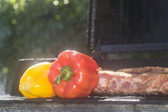 Peppers. Red and yellow pepper being barbequed Royalty Free Stock Photography