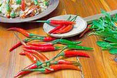 Peppers with rice and vegetables stock images