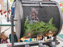 Peppers roasting at Corvallis Farmers Market Royalty Free Stock Photo