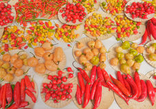 Peppers for sale in the market Royalty Free Stock Images