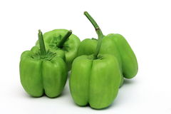 Peppers. Several green peppers white background stock image