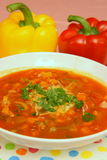 Peppers soup. Soup with red and yellow sweet peppers, with cheese and herbs Royalty Free Stock Photos