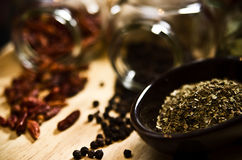 Peppers and spices Royalty Free Stock Photography