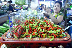 Peppers stall at Banzaan Market in Patong. Banzaan Market is a covered market in Patong, Phuket, Thailand royalty free stock photos