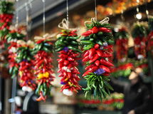 Peppers on a String at the Market Royalty Free Stock Photography