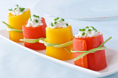 Peppers stuffed with cheese - appetizer Royalty Free Stock Photography