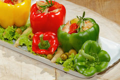 Peppers, stuffed, grilled turkey breast, vegetables, salad Stock Images