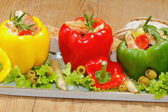 Peppers, stuffed, grilled turkey breast, vegetables, salad Stock Image