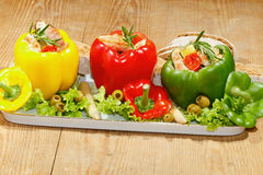 Peppers, stuffed, grilled turkey breast, vegetables, salad Stock Photography