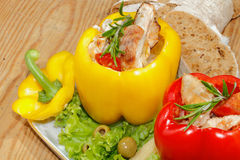 Peppers, stuffed, grilled turkey breast, vegetables, salad Royalty Free Stock Images