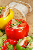 Peppers, stuffed, grilled turkey breast, vegetables, salad Royalty Free Stock Image
