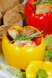 Peppers, stuffed, grilled turkey breast, vegetables, salad Royalty Free Stock Photography