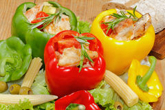 Peppers, stuffed, grilled turkey breast, vegetables, salad Stock Photo