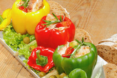Peppers, stuffed, grilled turkey breast, vegetables, salad Royalty Free Stock Photos