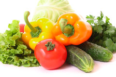 Peppers, tomato, cucumber and salad Stock Images