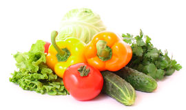 Peppers, tomato, cucumber and salad Royalty Free Stock Photography