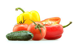 Peppers, tomato and green cucumber isolated Stock Image