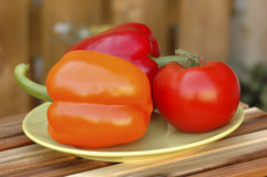 Peppers and Tomatoes. Colorful fresh bell peppers and a tomato Royalty Free Stock Images