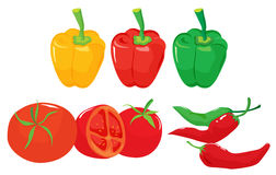 Peppers and tomatoes royalty free illustration