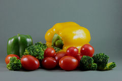 Peppers, tomatoes and broccoli Stock Images