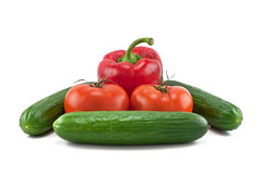 Peppers, tomatoes and cucumbers Royalty Free Stock Images