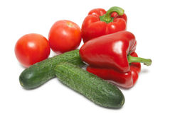 Peppers, Tomatoes and cucumbers Stock Photo