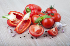 Peppers and tomatoes Royalty Free Stock Photo