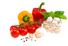 Peppers, tomatoes, garlic. Royalty Free Stock Images