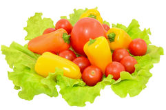 Peppers and tomatoes on lettuce leaves Royalty Free Stock Photos