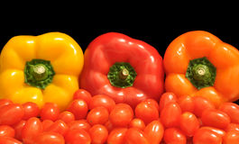 Peppers and tomatoes at a Mexican market Royalty Free Stock Photos
