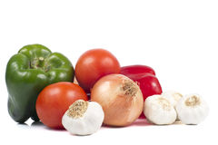 Peppers, Tomatoes, Onion and Garlics Stock Image