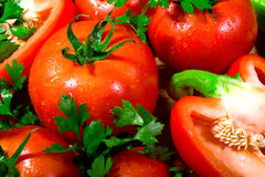 Peppers, tomatoes and parsley Royalty Free Stock Photos