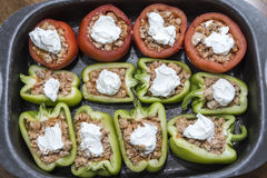 Peppers and tomatoes stuffed with meat Stock Image