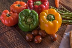 Peppers with tomatoes royalty free stock photography
