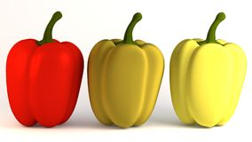 3 peppers vegetable. 3d render of 3 peppers vegetable Stock Images