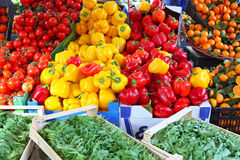 Peppers in vegetable market. Colourful peppers and tamato in vegetable and fruit market stock photography