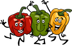 Peppers vegetables group cartoon illustration Stock Images