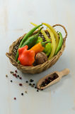 Peppers, walnut and green beans Royalty Free Stock Photos