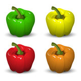 Peppers  on white background. Vector set Royalty Free Stock Images