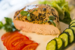Peppery kött med saftiga tomater och gurkor på plattan Arkivfoto