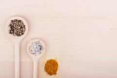 Peppra och rykta i skedar på träbakgrund, salt Royaltyfri Foto