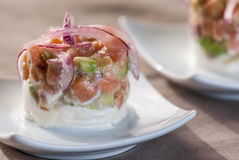 Peppra sallad med tomat- och lökavokadoättiksås Royaltyfri Bild