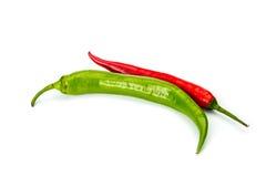 Pepprar chili som isoleras på vit Royaltyfri Fotografi
