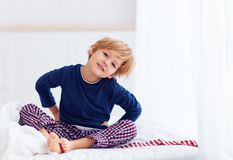 Free Peppy Young Boy Waking Up In The Morning Stock Images - 81610634