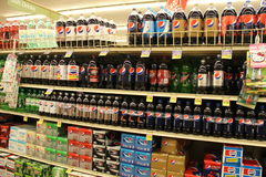 PEPSI. Bottles for sale in supermarket Stock Photography