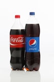 Pepsi and cocacola. Kuala Lumpur,Malaysia -15 July 2016  Coca-Cola and Pepsi cans on white background. Symbolic representation of one of the greatest business Stock Photo