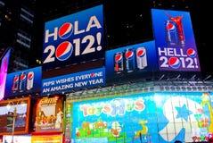 Pepsi-cola accoglie favorevolmente il nuovo anno! Times Square, NYC Fotografie Stock Libere da Diritti