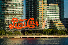 Pepsi-Cola Sign and buildings in Long Island City seen from Roos Royalty Free Stock Photos